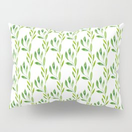 green watercolor vines Pillow Sham