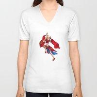 manga V-neck T-shirts featuring Manga Hero by SpaceMonolith