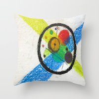 kandinsky Throw Pillows featuring do it like kandinsky by Olga Kakoulidou