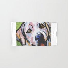 Yellow Lab Labrador Retriever Dog Portrait Pop Art painting by Lea Hand & Bath Towel