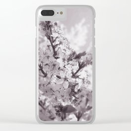 Sour Cherry Tree Black And White Clear iPhone Case