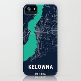 Kelowna Blue Dark Color City Map iPhone Case