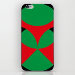 A beautiful martian green and red flower, coming out from a round horizon. iPhone Skin