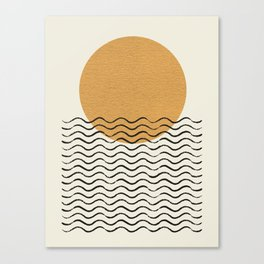 Ocean wave gold sunrise - mid century style Canvas Print