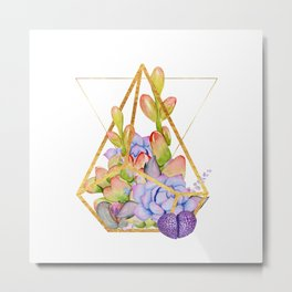 Succulent Geometry gold wire geometric frames Metal Print