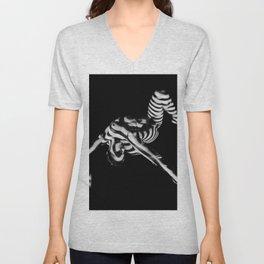 4256s-DEW Black White Nude Fit Woman Zebra Stripe Abstract Feminine Power and Flexibility Unisex V-Neck