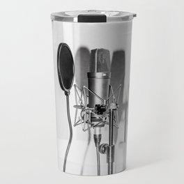 Microphone black and white Travel Mug