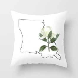 louisiana // watercolor magnolia state flower map Throw Pillow