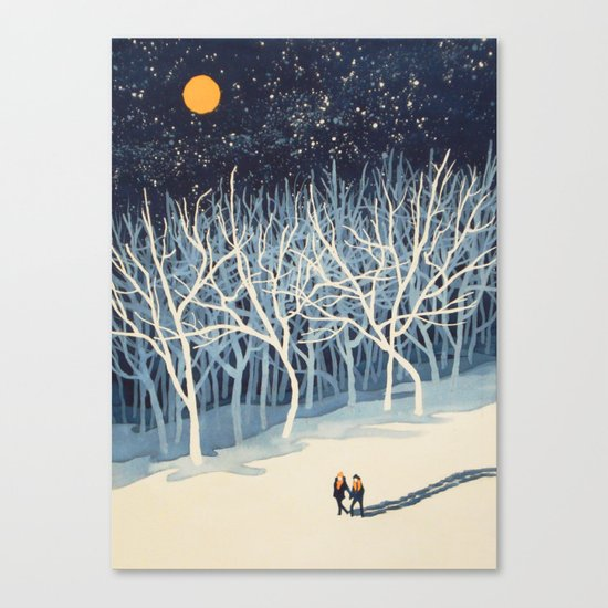 If on a Winter's Night Young Lover's... Canvas Print