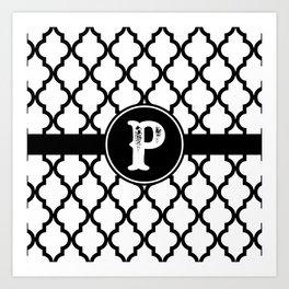 Black Monogram: Letter P Art Print