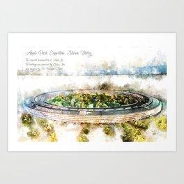 Apple Park, Aquarell Art Print