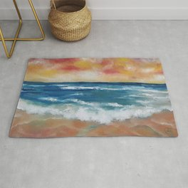 Colourful Seascape, Magical Clouds, Waves, Sandy Beach, oil painting by Luna Smith Rug