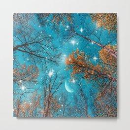 Starry Sky in the Woods Metal Print