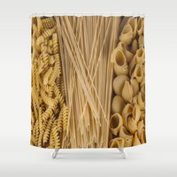 pasta Shower Curtains featuring Different kind of pasta by Joseagon