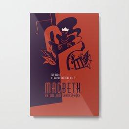 Retro Macbeth William Shakespeare Metal Print