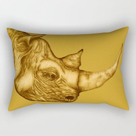 The Golden Rhino Rectangular Pillow