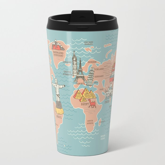 World map cartoon style travel mug by anukunhamala society6 world map cartoon style travel mug gumiabroncs Image collections