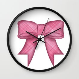 Pink Bow Emoji in Plaid Wall Clock