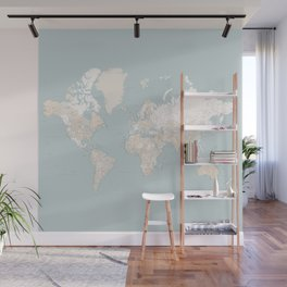 "Muted colors highly detailed world map, square, ""Tiara"" Wall Mural"