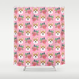Corgi face floral bouquet cute dog breed gifts for welsh corgi lovers must haves Shower Curtain