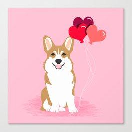 Corgi valentines day heart balloons dog breed must haves welsh corgis Canvas Print