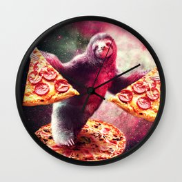 Funny Space Sloth With Pizza Wall Clock