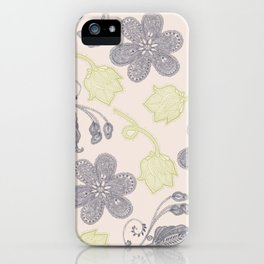 Modern vintage mint green ivory gray floral iPhone Case