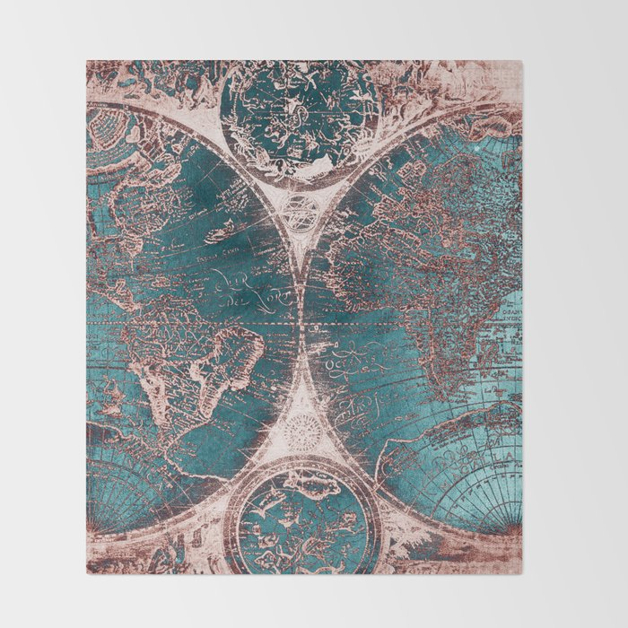 Antique world map pink quartz teal blue by nature magick throw antique world map pink quartz teal blue by nature magick throw blanket gumiabroncs Gallery