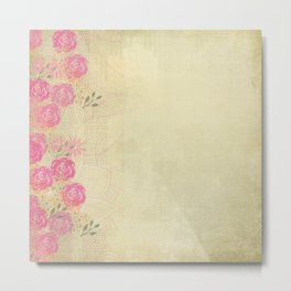 Woodland Fairytale: Wild rose border on light green (or yellow) Metal Print