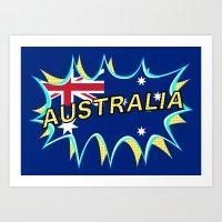 australia Art Prints featuring Australia by mailboxdisco