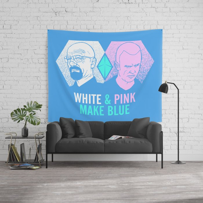 WHITE & PINK MAKE BLUE Wall Tapestry