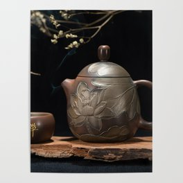 Japanese Teapot with Lotus Blossom Flower Poster