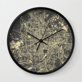 Minneapolis Map yellow Wall Clock
