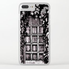 Black White Old Door Clear iPhone Case