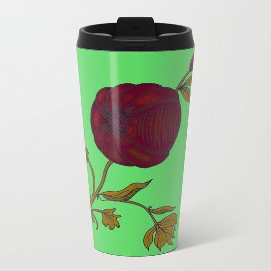 simple decorative pomegranate Metal Travel Mug