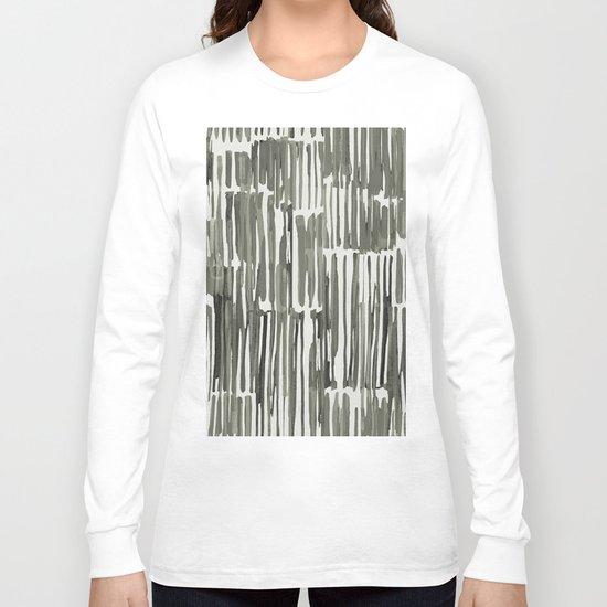 Simply Bamboo Brushstroke Green Tea on Lunar Gray Long Sleeve T-shirt