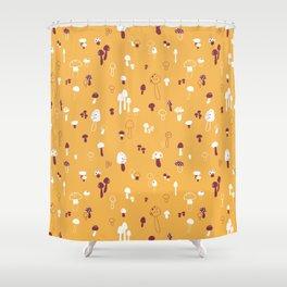 Autumn Mushrooms Mustard Shower Curtain