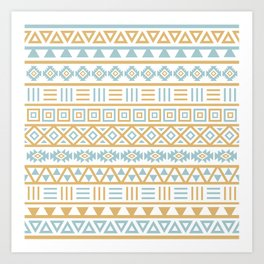 Aztec Influence Pattern Blue White Gold Art Print