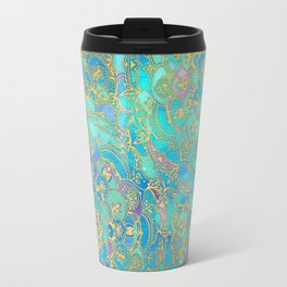 Sapphire & Jade Stained Glass Mandalas Travel Mug