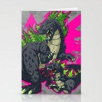 kaiju Stationery Cards featuring Kaiju Senior Kaiju Junior by firestarterdesign