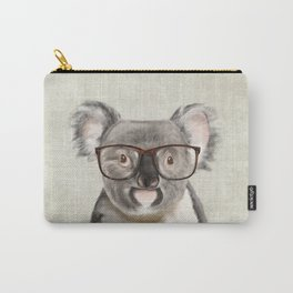 A baby koala with glasses on a rustic background Carry-All Pouch