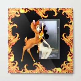Givenchy scarf with flame and bambi print Metal Print