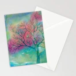 Colorful Spring Magic Tree painting Stationery Cards