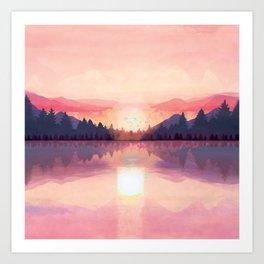 Morning Sunshine over the Peaceful Mountain Lake Art Print