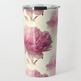 Antiqued Peony Travel Mug