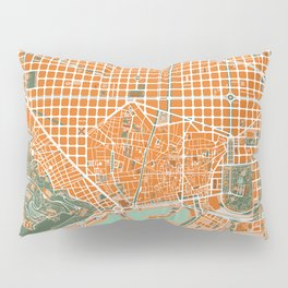 Barcelona city map orange Pillow Sham