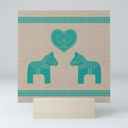 Turquoise Dala Horses on Burlap Mini Art Print