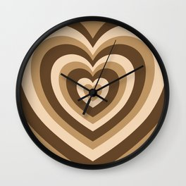 Aesthetic Hypnotic Brown Hearts Wall Clock