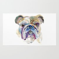 bulldog Area & Throw Rugs featuring Bulldog by coconuttowers