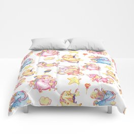 Cute girly watercolor magical rainbow colors unicorn illustration Comforters